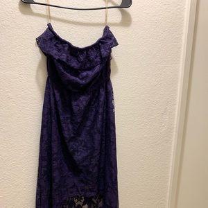 Long purple strapless dress
